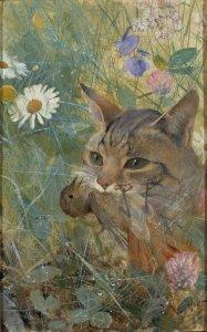 Bild på katt i högt gräs med fågelunge i munnen.